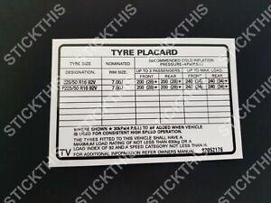 Suits Holden VS SS Sedan - Tyre Placard 92052176 TV