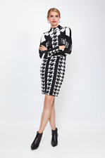 Karen Millen ~ Houndstooth Jacquard Knit Dress - New With Tag - Size - L - 16