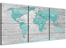 Large Teal Grey Map of World Atlas Canvas Wall Art Print 3 Set 125cm Wide - 1299