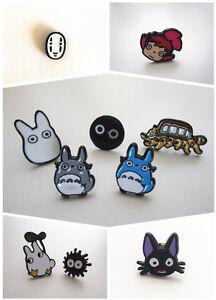 Ghibli Grey White Totoro Catbus Soot Spirit Ponyo Jiji No Face Stud Earrings