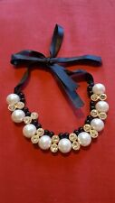 Gorgeous pearl Chunky Statement Necklace With Ribbon Fastening
