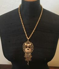 """Vintage Gold Tone Metal Rope Link Chain Articulated Lion Pendant 21"""" Necklace"""