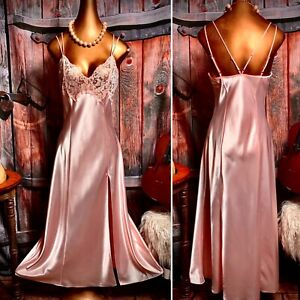 Vintage Victoria's Secret Satin Nightie Gown Negligee Lingerie Gloss Slip XS S