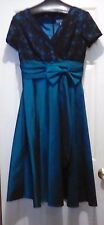 COLDWATER CREEK Shimmery Teal and Black Lace DRESS - size 8 - 45 inches long