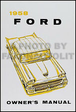 1958 Ford Owners Manual All Car and Ranchero Owner User Instruction Guide Book