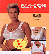 Beige Lace Comfort Bra, Extra Wide Straps, Front-Hook, New, Size 34B