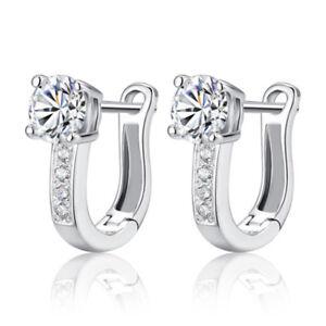 925 Sterling Silver Clear Cubic Zirconia Girls/Women Stud Earrings