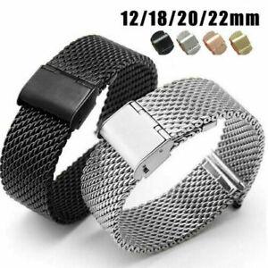 Dick Milanese Uhrenarmband Band Edelstahl Netz Armband 12-22mm Armbanduhr #N