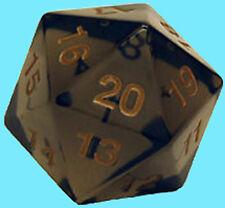 KOPLOW GAMES 55MM TRANSLUCENT SMOKE w/ GOLD DIE D20 Countdown Black Dice MTG