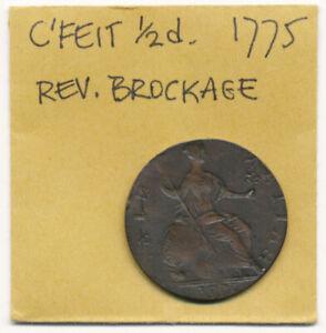^^ERRRRROR^^ 1775 REVERSE BROCKAGE COLONIAL HALFPENNY (EXCELLENT !!) >> NO RSRV
