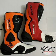 UBR Leather Honda Repsol Motorbike MotoGP Racing Men Boots Motorcycle All Sizes