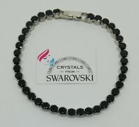 Bracciale Tennis Unisex oro 18 kt pl cristalli Swarovski neri SWBRORB19-006