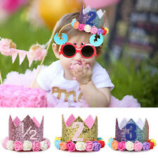 Baby Kids First Birthday Hat Party Princess Sparkle Crown Band with Flower Decor