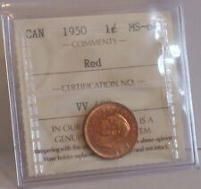 1950 CANADA 1c One Cent Penny Coin Queen Elizabeth II Graded: ICCS MS-64 Red