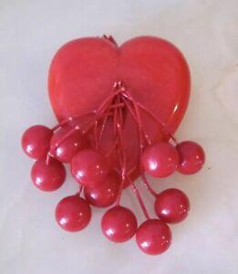 VTG 1940s *RED BAKELITE HEART Brooch w/DANGLING CHERRIES