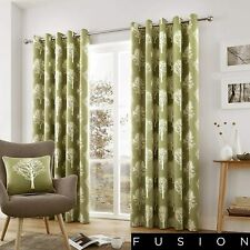 """Green Eyelet Curtains Woodland Trees Ring Top 66x54 to 90x90"""" Modern Design"""