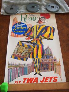 ORIGINAL Vintage Airline Travel Poster TWA Southern Airways Rome, Italy D. Klein