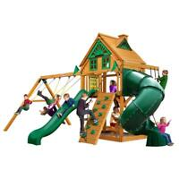NEW Gorilla Playsets Mountaineer Treehouse Swing Set with Amber Posts & Sandbox