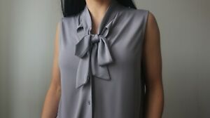 Ann Taylor Women's Grey Sleeveless Blouse Pussy Bow Tie Size S
