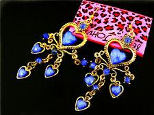 Betsey Johnson fashion blue crystal love heart Women's Ear Stud Earrings
