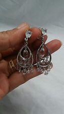 Swan signed Swarovski crystal dangle chandelier silver tone clip on earrings