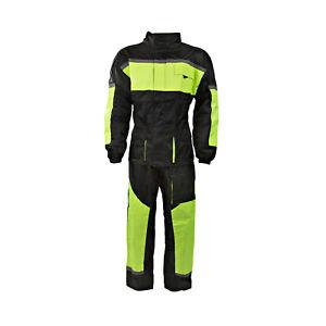 Black 100% Waterproof Hi Viz Two 2 Piece Rain Suit Motorcycle Motorbike Oversuit