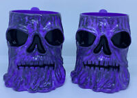 2 - Grave Digger Monster Jam 3-D Purple Plastic Cups w/Monster Face Vintage