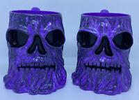 2 - Grave Digger Monster Jam 3-D Purple Plastic Cups w/Monster Face Vintage