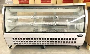 """Deli Case New 72"""" 82"""" ShoW Curved Glass Refrigerator Display Bakery Pastry Meat"""