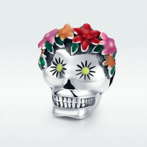 High Quality S925 Sterling Silver Charm Flower Skeleton Skull Bead For Bracelet