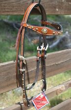 Reinsman Molly Powell Vintage Cowgirl Browband Headstall Spots Bronco Conchos