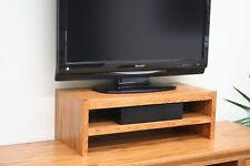 TV Riser Stand Triple Tier Modern Style Oak Wood with Medium Finish