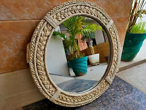 Round White Rope Coastal Decor Mirror Nautical themed designer bathroom mirror