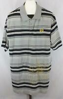 Phat Classics Mens Big & Tall Gray Black Striped Embroidered Polo Shirt Size 2X