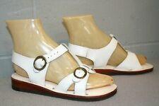 5.5 Nos Vtg 1970s Does 1940s Boho T-Strap Buckle Wedge Heel White Sandal Shoe