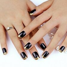 Bling Art False Nails French Manicure Dipped In Gold Full Cover Medium