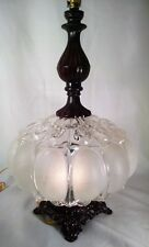 Vintage Clear & Frosted LED 9.5w Cast Metal Table Lamp w/Night Light, Refinished