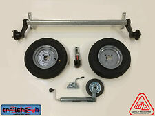 """750kg Trailer Kit - Axle, 145 x 10"""" Wheels, Knott Coupling & Jockey - FREE DEL"""