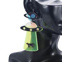 Acrylic Women UFO Earrings Jewelry Boho Dangle Drop Stud Earring Resin Ear GIft