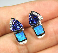 Tanzanite and Blue Fire Opal Inlay Solid 925 Sterling Silver Post, Stud Earrings