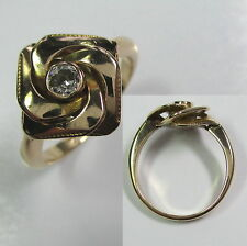 590 - Antiker Ring - Gold 585 - Altschliff Diamant -1144/1385-