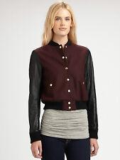 Theory Dex Varsity Leather Jacket Size Large L