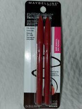 2PC MAYBELLINE TWIN EYE & BROW WOOD PENCIL LINER 102 DARK BROWN EXPERTWEAR 2x.03