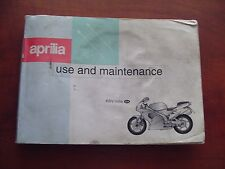 OEM 1999 APRILIA RSV1000 RSV MILE USE AND MAINTENANCE MANUAL MADE IN ITALY