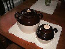 Vintage STONEWARE BEAN POTS-1-Double Handle Brown Beige, 1 single. Stamped USA