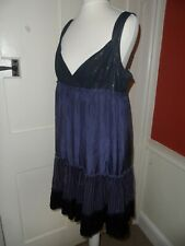 WAREHOUSE violet tunique style coupe ample Pailleté Brillant Sequin robe de soie UK 12