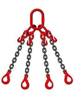 8mm 4 Leg Lifting Chain Sling 6M 4.25 ton Self Locking Hook & Shortners ID TAG