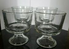 """New listing Set of 4 Vintage Ice Cream, Sundae Dishes Desert Cups Clear Glass Footed 4.25"""""""