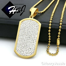 """30""""MEN Stainless Steel 2.5mm Gold Beads Chain Necklace ICED Dog Tag Pendant*GP43"""