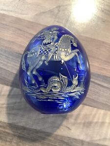 VINTAGE RUSSIAN FABERGE LARGE BLUE GLASS EGG EGRAVED WITH GEORGE AND THE DRAGON